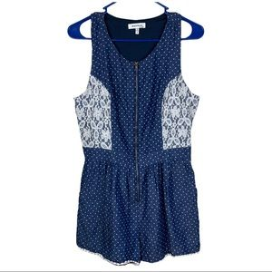 Monteau Women's Laced Polka Dots Blue Romper sze L